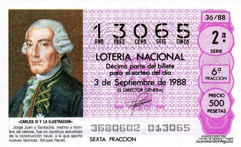 Décimo de Lotería Nacional de 1988 Sorteo 36 - «CARLOS III Y LA ILUSTRACION» - JORGE JUAN Y SANTACILIA, MARINO Y HOMBRE DE CIENCIA