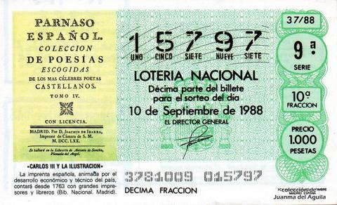 Décimo de Lotería Nacional de 1988 Sorteo 37 - «CARLOS III Y LA ILUSTRACION» - LA IMPRENTA ESPAÑOLA, CONTARA A PARTIR DE 1763 CON GRANDES IMPRESORES Y LIBREROS