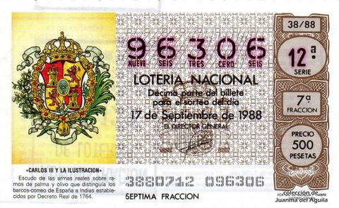 Décimo de Lotería Nacional de 1988 Sorteo 38 - «CARLOS III Y LA ILUSTRACION» - ESCUDO DE LAS ARMAS REALES QUE DISTINGUIA LOS BARCOS-CORREO DE ESPAÑA A INDIAS