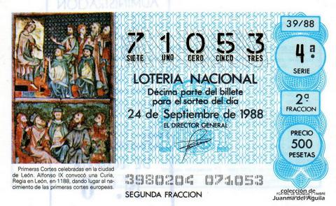 Décimo de Lotería Nacional de 1988 Sorteo 39 - PRIMERAS CORTES CELEBRADAS EN LA CIUDAD DE LEON