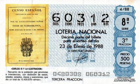 Décimo de Lotería Nacional de 1988 Sorteo 4 - «CARLOS III Y LA ILUSTRACION» - CENSO DE 1787, QUE DIO UN TOTAL DE 10.409.879 «ALMAS»