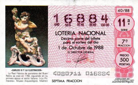 Décimo de Lotería Nacional de 1988 Sorteo 40 - «CARLOS III Y LA ILUSTRACION» - REAL FABRICA DE PORCELANA DEL BUEN RETIRO, CREADA EN 1760