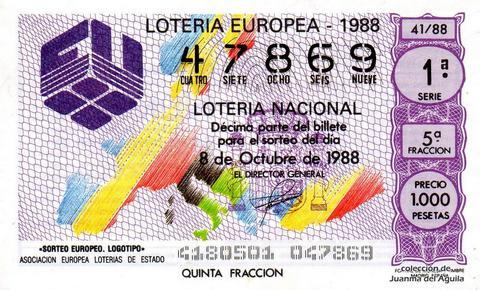 Décimo de Lotería Nacional de 1988 Sorteo 41 - «SORTEO EUROPEO. LOGOTIPO»