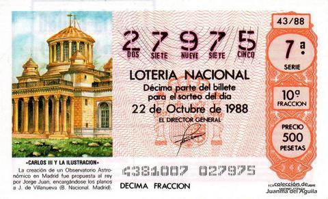 Décimo de Lotería Nacional de 1988 Sorteo 43 - «CARLOS III Y LA ILUSTRACION» - CREACION DE UN OBSERVATORIO ASTRONOMICO EN MADRID