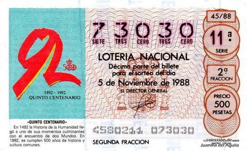 Décimo de Lotería Nacional de 1988 Sorteo 45 - «QUINTO CENTENARIO»