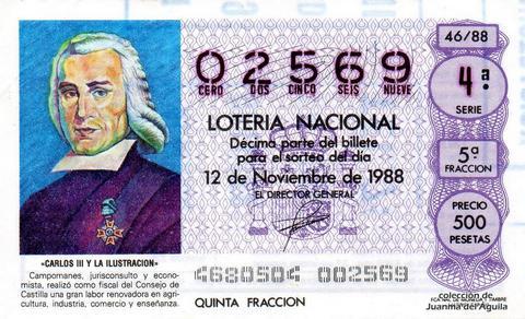 Décimo de Lotería Nacional de 1988 Sorteo 46 - «CARLOS III Y LA ILUSTRACION» - CAMPOMANES. JURISCONSULTO Y ECONOMISTA