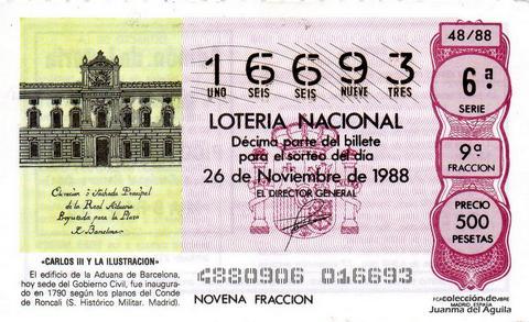 Décimo de Lotería Nacional de 1988 Sorteo 48 - «CARLOS III Y LA ILUSTRACION» - EDIFICIO DE LA ADUANA DE BARCELONA. INAUGURADO EN 1790