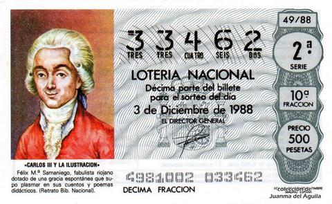 Décimo de Lotería Nacional de 1988 Sorteo 49 - «CARLOS III Y LA ILUSTRACION» - FELIX M.ª SAMANIEGO. FABULISTA RIOJANO