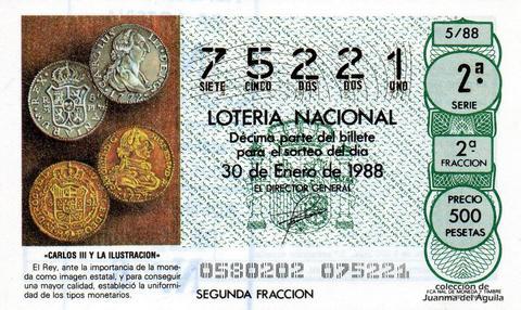 Décimo de Lotería Nacional de 1988 Sorteo 5 - «CARLOS III Y LA ILUSTRACION» - ESTABLECIMIENTO DE LA UNIFORMIDAD DE LOS TIPOS MONETARIOS