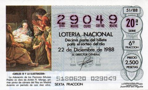 Décimo de Lotería Nacional de 1988 Sorteo 51 - «CARLOS III Y LA ILUSTRACION» - LA ADORACION DE LOS PASTORES, DE ANTON R. MENGS