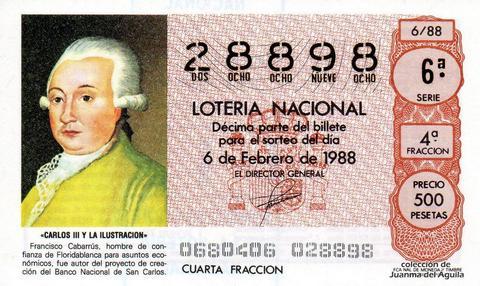 Décimo de Lotería Nacional de 1988 Sorteo 6 - «CARLOS III Y LA ILUSTRACION» - FRANCISCO CABARRUS
