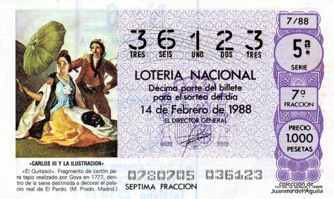 Décimo de Lotería Nacional de 1988 Sorteo 7 - «CARLOS III Y LA ILUSTRACION» - «EL QUITASOL». REALIZADO POR GOYA EN 1777