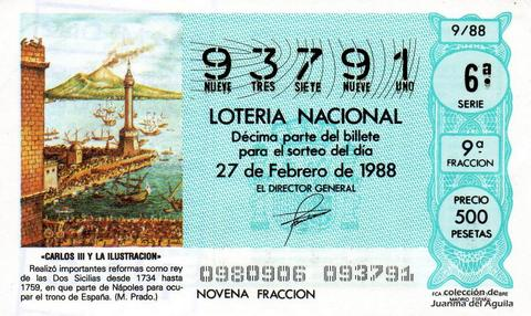 Décimo de Lotería Nacional de 1988 Sorteo 9 - «CARLOS III Y LA ILUSTRACION» - REY DE LAS DOS SICILIAS DESDE 1734 HASTA 1759