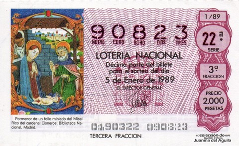 Décimo de Lotería Nacional de 1989 Sorteo 1 - Pormenor de un folio miniado del Misal Rico del cardenal Cisneros. Biblioteca Nacional, Madrid.