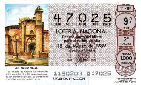 Décimo de Lotería Nacional de 1989 Sorteo 11 - «BELLEZAS DE ESPAÑA» - CATEDRAL DE ORENSE (SIGLOS XII - XIII)