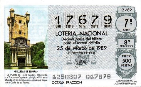 Décimo de Lotería Nacional de 1989 Sorteo 12 - «BELLEZAS DE ESPAÑA» - PUERTA DE TIERRA (CADIZ)