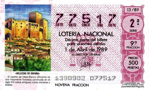 Décimo de Lotería Nacional de 1989 Sorteo 13 - «BELLEZAS DE ESPAÑA» - CASTILLO DE VELEZ-BLANCO (ALMERIA)