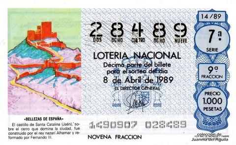 Décimo de Lotería Nacional de 1989 Sorteo 14 - «BELLEZAS DE ESPAÑA» - CASTILLO DE SANTA CATALINA (JAEN)