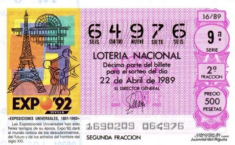 Décimo de Lotería Nacional de 1989 Sorteo 16 - «EXPOSICIONES UNIVERSALES, 1851-1992»