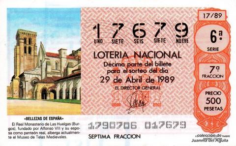 Décimo de Lotería Nacional de 1989 Sorteo 17 - «BELLEZAS DE ESPAÑA» - REAL MONASTERIO DE LAS HUELGAS (BURGOS)