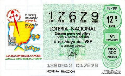 Décimo de Lotería Nacional de 1989 Sorteo 18 - ¡LUCHA CONTRA EL CANCER!