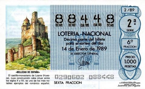 Décimo de Lotería Nacional de 1989 Sorteo 2 - «BELLEZAS DE ESPAÑA» - CASTILLO - MONASTERIO DE LOARRE (HUESCA)