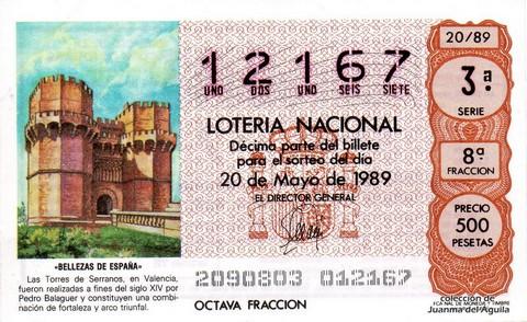 Décimo de Lotería Nacional de 1989 Sorteo 20 - «BELLEZAS DE ESPAÑA» - TORRES DE SERRANOS (VALENCIA) S.XIV