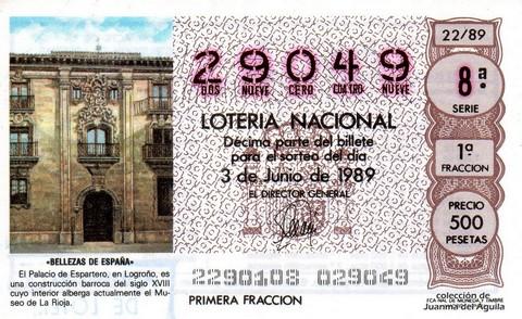 Décimo de Lotería Nacional de 1989 Sorteo 22 - «BELLEZAS DE ESPAÑA» - PALACIO DE ESPARTERO (LOGROÑO)