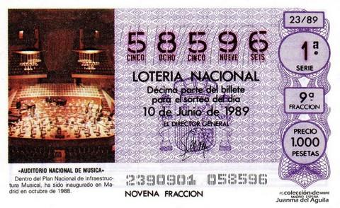 Décimo de Lotería Nacional de 1989 Sorteo 23 - «AUDITORIO NACIONAL DE MUSICA»