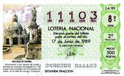 Décimo de Lotería Nacional de 1989 Sorteo 24 - «BELLEZAS DE ESPAÑA» - MONUMENTO A SAN IGNACIO DE LOYOLA Y FACHADA DE LA BASILICA
