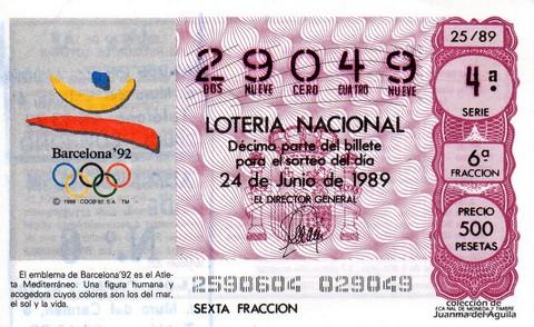 Décimo de Lotería Nacional de 1989 Sorteo 25 - EMBLEMA DE BARCELONA '92