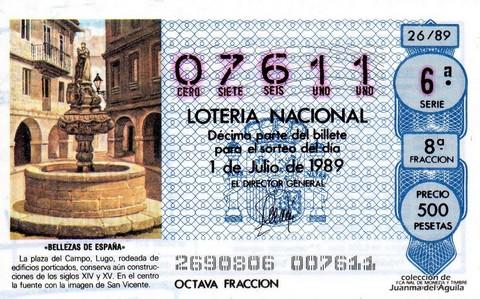 Décimo de Lotería Nacional de 1989 Sorteo 26 - «BELLEZAS DE ESPAÑA» - PLAZA DEL CAMPO (LUGO)