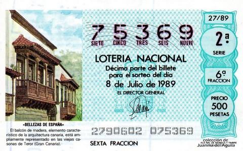 Décimo de Lotería Nacional de 1989 Sorteo 27 - «BELLEZAS DE ESPAÑA» -