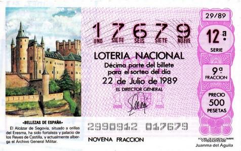 Décimo de Lotería Nacional de 1989 Sorteo 29 - «BELLEZAS DE ESPAÑA» - ALCAZAR DE SEGOVIA, SITUADO A ORILLAS DEL ERESMA
