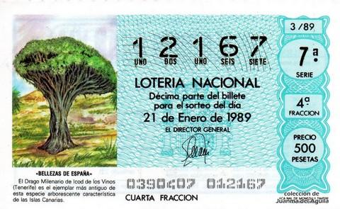 Décimo de Lotería Nacional de 1989 Sorteo 3 - «BELLEZAS DE ESPAÑA» - DRAGO MILENARIO DE ICOD DE LOS VINOS (TENERIFE)