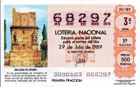 Décimo de Lotería Nacional de 1989 Sorteo 30 - «BELLEZAS DE ESPAÑA» - TORRE DE LOS ESCIPIONES (TARRAGONA)