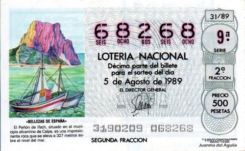 Décimo de Lotería Nacional de 1989 Sorteo 31 - «BELLEZAS DE ESPAÑA» - PEÑON DE IFACH, CALPE (ALICANTE)