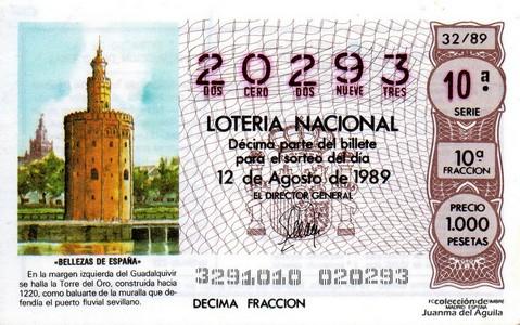 Décimo de Lotería Nacional de 1989 Sorteo 32 - «BELLEZAS DE ESPAÑA» - TORRE DEL ORO (SEVILLA)