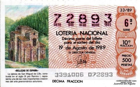 Décimo de Lotería Nacional de 1989 Sorteo 33 - «BELLEZAS DE ESPAÑA» - IGLESIA DE SAN MIGUEL DE LILLO (S. IX)