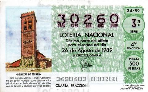 Décimo de Lotería Nacional de 1989 Sorteo 34 - «BELLEZAS DE ESPAÑA» - TORRE DE SAN MARTIN (TERUEL)
