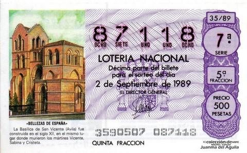 Décimo de Lotería Nacional de 1989 Sorteo 35 - «BELLEZAS DE ESPAÑA» - BASILICA DE SAN VICENTE (AVILA)