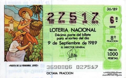 Décimo de Lotería Nacional de 1989 Sorteo 36 - «FIESTA DE LA VENDIMIA. JEREZ»
