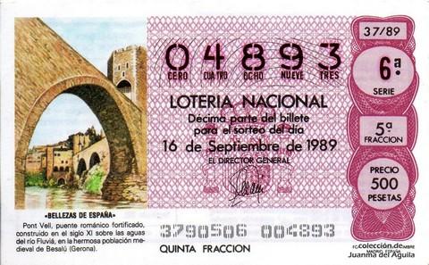 Décimo de Lotería Nacional de 1989 Sorteo 37 - «BELLEZAS DE ESPAÑA» - PONT VELL, BESALU (GERONA)