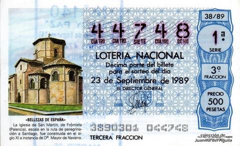 Décimo de Lotería Nacional de 1989 Sorteo 38 - «BELLEZAS DE ESPAÑA» - IGLESIA DE SAN MARTIN, DE FROMISTA (PALENCIA)