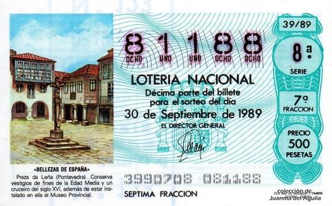 Décimo de Lotería Nacional de 1989 Sorteo 39 - «BELLEZAS DE ESPAÑA» - PRAZA DA LEÑA (PONTEVEDRA)