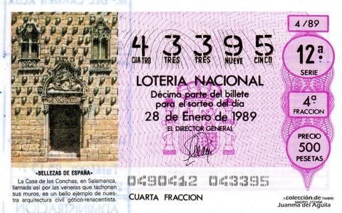 Décimo de Lotería Nacional de 1989 Sorteo 4 - «BELLEZAS DE ESPAÑA» - CASA DE LAS CONCHAS (SALAMANCA)