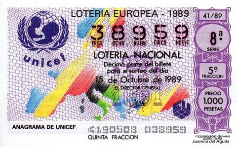 Décimo de Lotería Nacional de 1989 Sorteo 41 - ANAGRAMA DE UNICEF