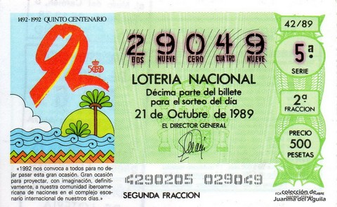 Décimo de Lotería Nacional de 1989 Sorteo 42 - DIBUJO ALEGORICO QUINTO CENTENARIO