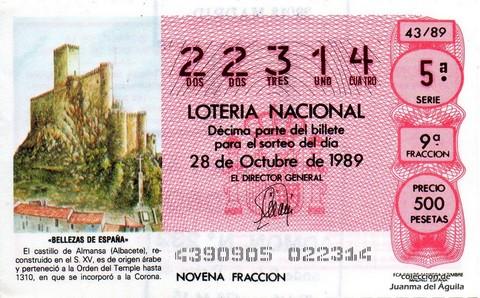 Décimo de Lotería Nacional de 1989 Sorteo 43 - «BELLEZAS DE ESPAÑA» - CASTILLO DE ALMANSA (ALBACETE)