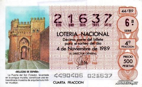 Décimo de Lotería Nacional de 1989 Sorteo 44 - «BELLEZAS DE ESPAÑA» - PUERTA DEL SOL (TOLEDO)